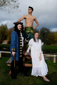 Stockton Riverside College, students photocall for Peter Pan at Air Trail Stockton. Pictured Hook played by Nathan Brown, Ali Rasul as Peter Pan and Wendy played by Brogan Gilchrist. 4t6h November 2016 Michelle Maddison Photography 07798 724746 michellemaddison@btopenworld.com